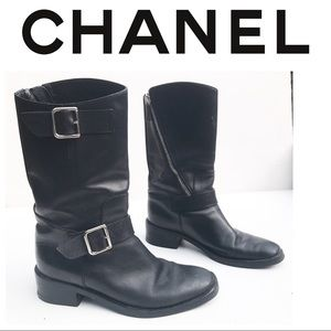 CHANEL moto Black Leather Boots 36 6 Authentic